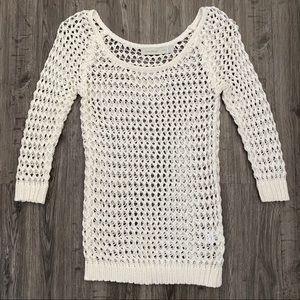 Costa Blanca Cream Crocheted Open Knit Sweater XS